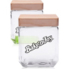 41 oz. Square Glass Candy Jars with Wooden Lid