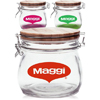 16 oz Glass Candy Jars with Wire Wooden Lids
